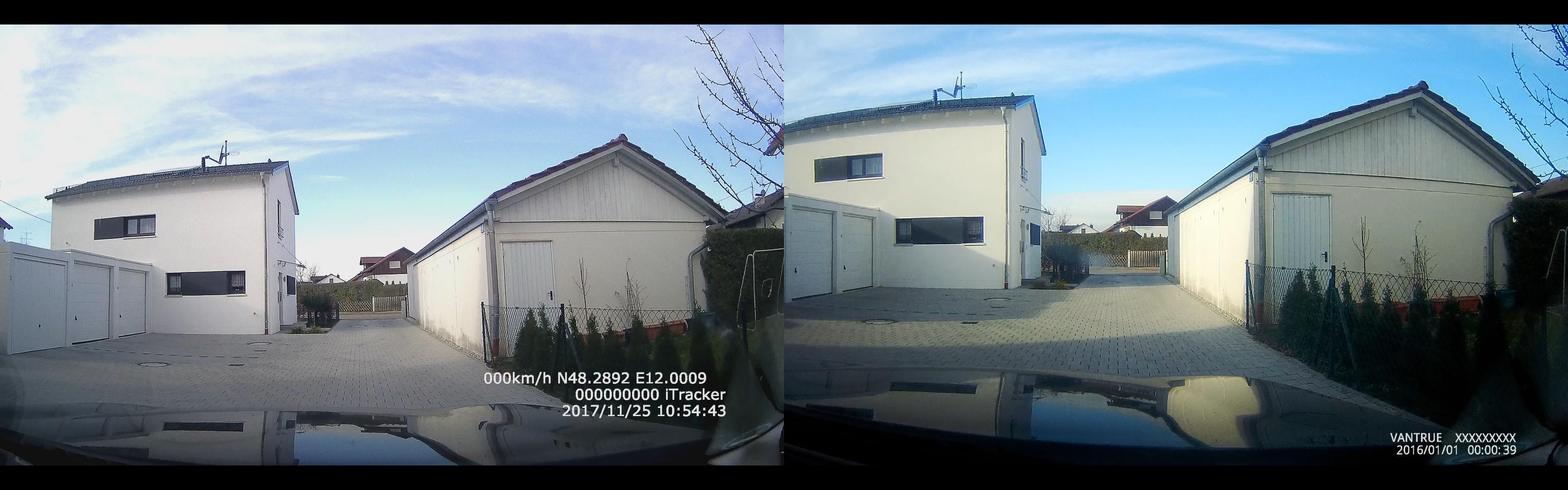 iTracker GS6000-A7 vs. Vantrue X3 - Vergleich der Aufnahmewinkel