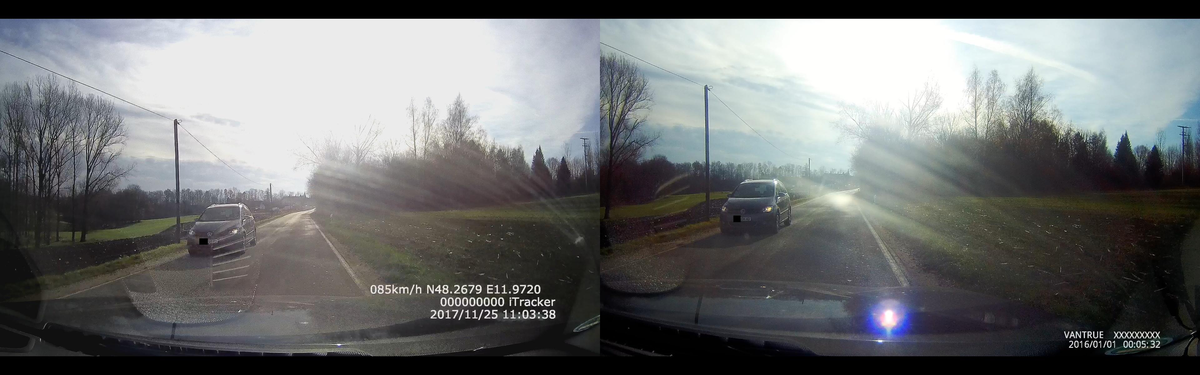 iTracker GS6000-A7 vs. Vantrue X3 - Vergleich der Bildqualität 1