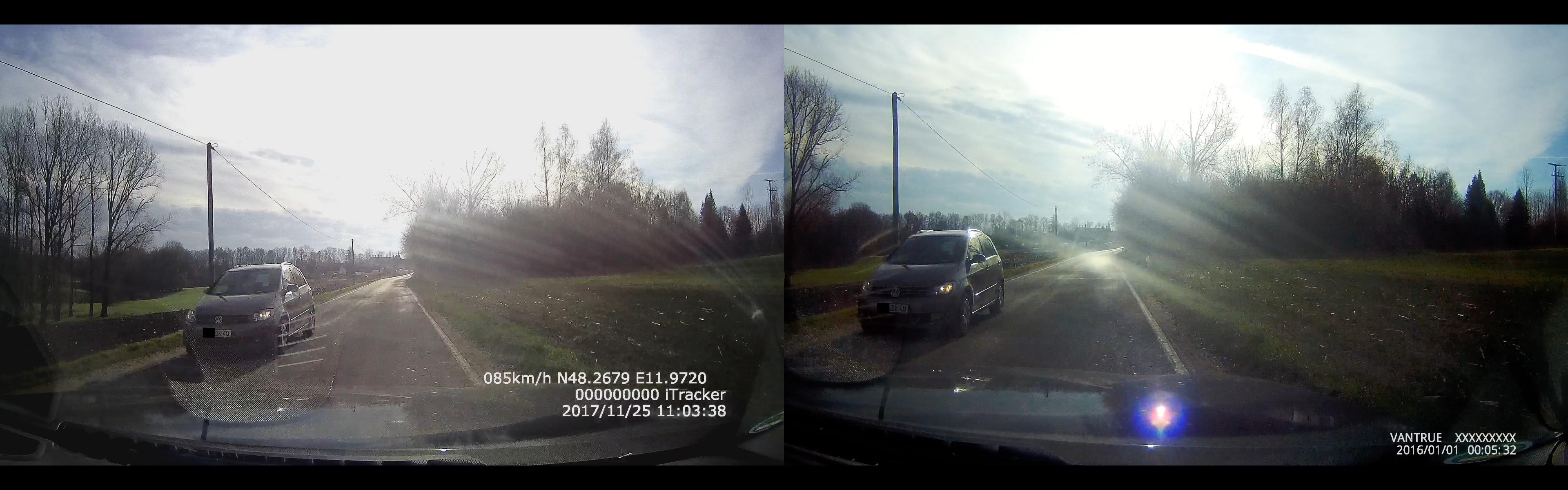 iTracker GS6000-A7 vs. Vantrue X3 - Vergleich der Bildqualität 2