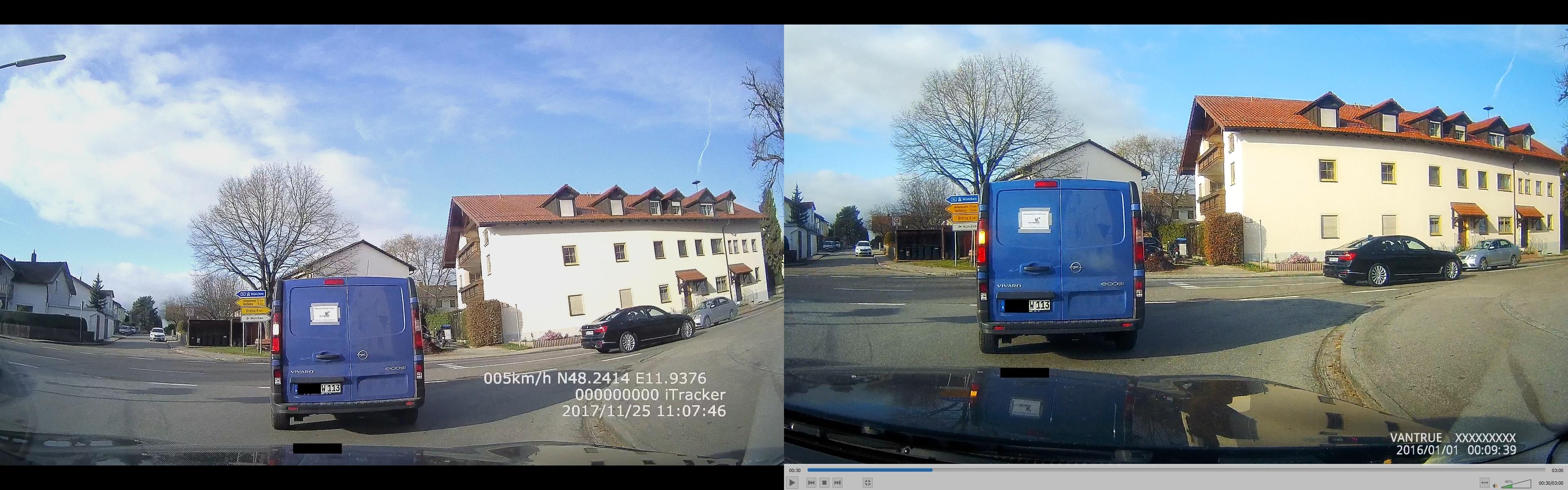 iTracker GS6000-A7 vs. Vantrue X3 – Vergleich der Bildqualität 3