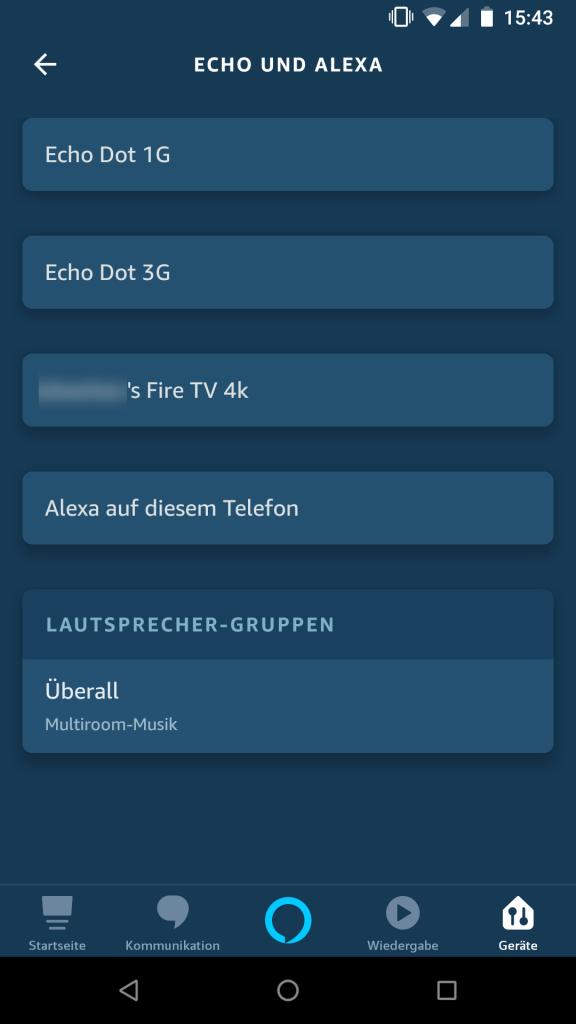 Alexa App - Geräte - Echo und Alexa