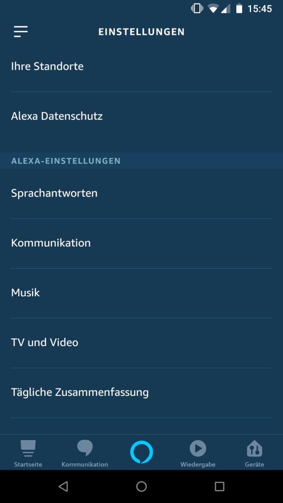Alexa App - Einstellungen - Alexa Einstellungen