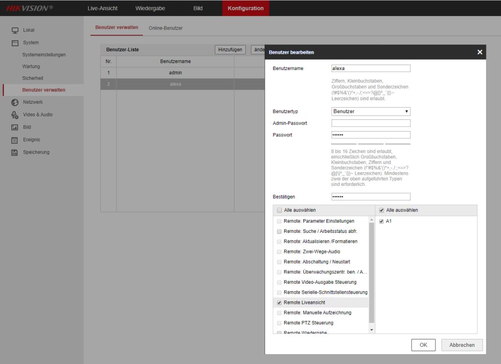 Hikvision - Weboberfläche - Benutzer verwalten